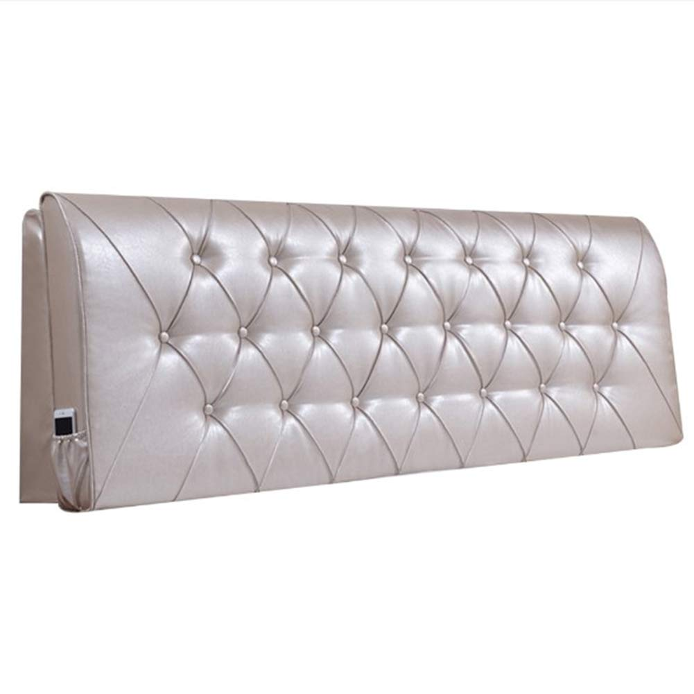 FLHSLY Bedside Cushion, Reading Pillow PU Solid Color Headboard Soft Case Lumbar Support Cushion Large Backrest,Beige,1606010cm