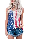 red and white shirt - Sidefeel Women Sleeveless Patriotic USA Flag Stripe Printed Stars Tank Tops Large Blue