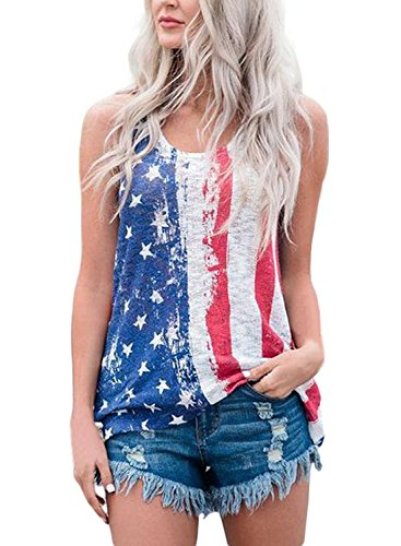 Blue Tank Top Shirt - Sidefeel Women Sleeveless Patriotic USA Flag Stripe Printed Stars Tank Tops Large Blue