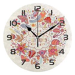 Dozili Retro Flower Bird Decorative Wooden Round Wall Clock Arabic Numerals Design Non Ticking Wall Clock Large for Bedrooms, Living Room, Bathroom