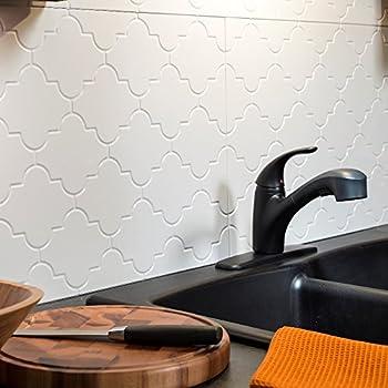 Fasade Easy Installation Monaco Matte White Backsplash Panel For Kitchen And Bathrooms 18 X 24 Panel