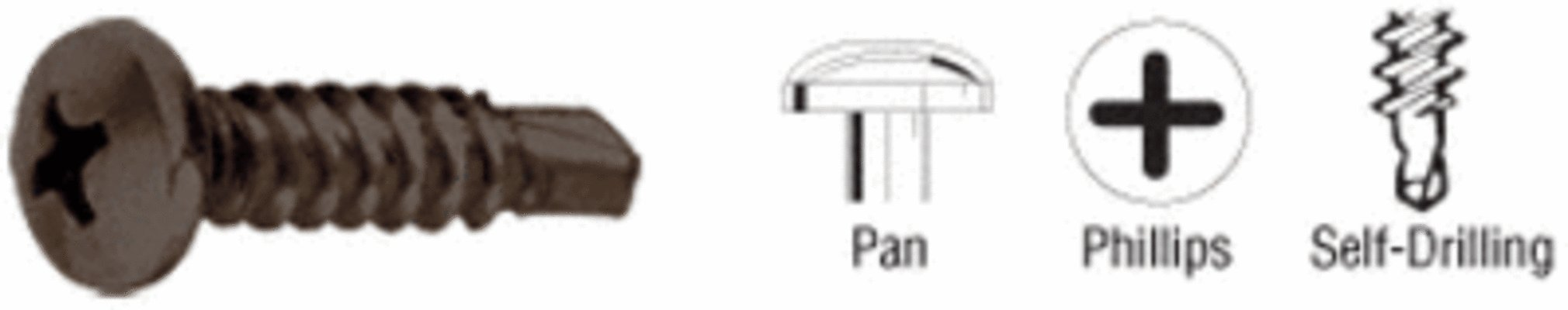 CRL Dark Bronze 8-18 x 3/4'' Self-Drilling Pan Head Phillips Screws Pack of 100 by CR Laurence by CR Laurence