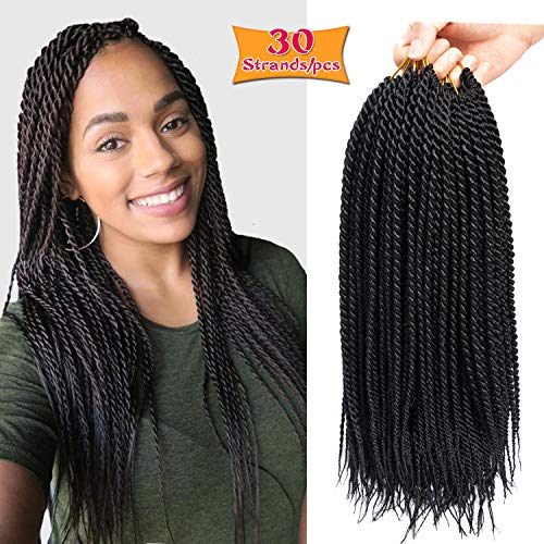 6Pcs 16inch 30stands Senegalese Twist Crochet Hair Braids Small Havana Mambo Twist Crochet Braiding Hair Low Temperature Fiber Synthetic Crochet Hair Extensions (1B)