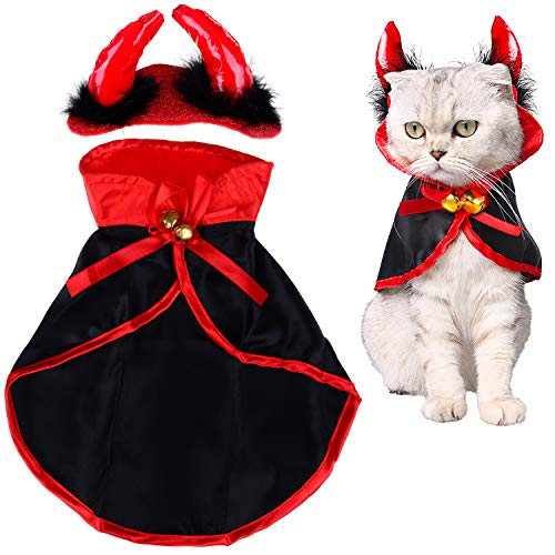 LOCOLO Cat Christmas Costume,1 Piece Pet Cloak Red Black Pet Cape 1 Piece Horn Headdress Cat Cape Pet Mantle with 2 Piece Bells, Pet Apparel Christmas Costume for Small Dogs and Cats