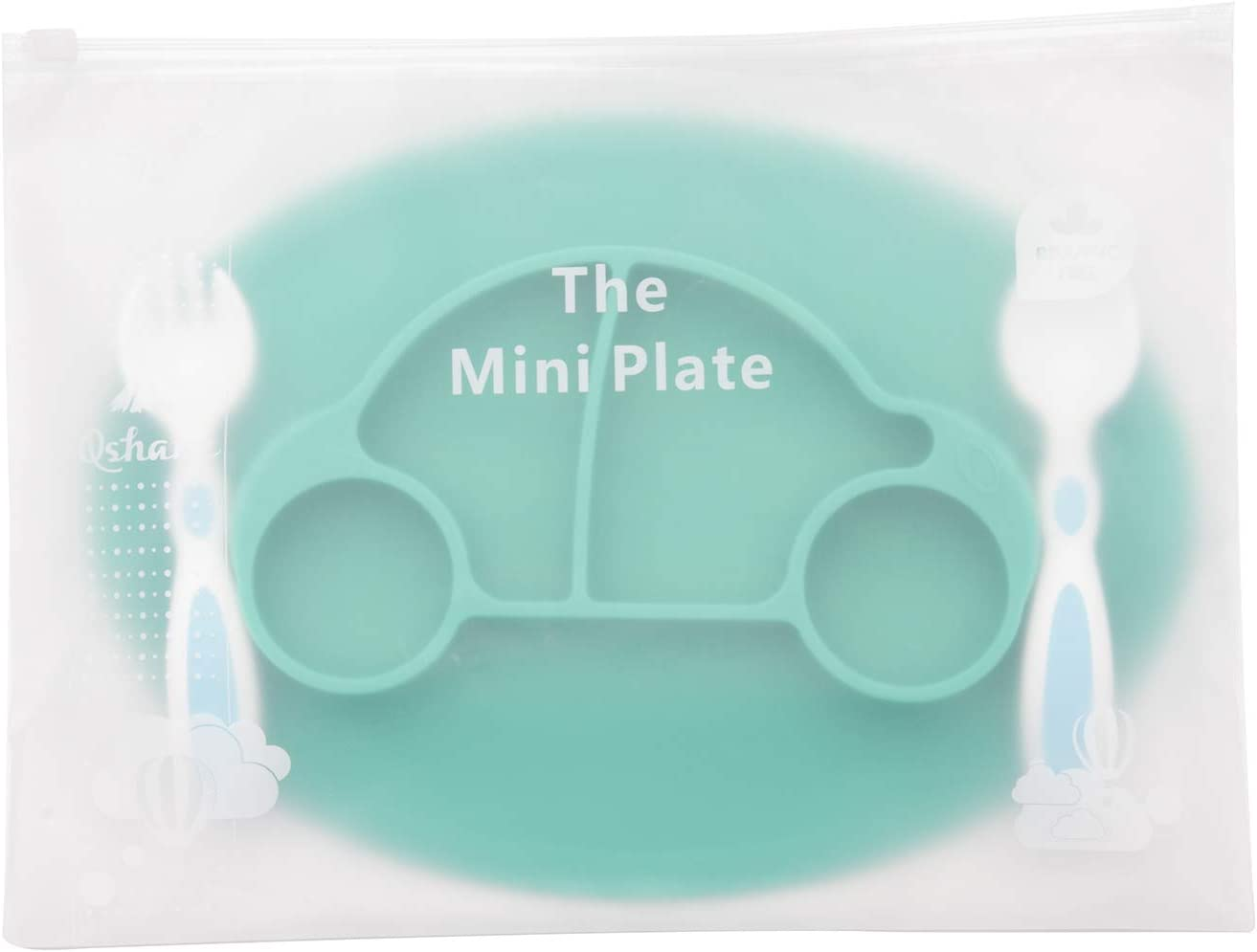 Non-Slip Feeding Suction Plate for Toddlers Babies Kids Fits Most Highchair Trays BPA-Free FDA Approved Baby Silicone Placemat Dishwasher and Microwave Safe with Spoon and Fork