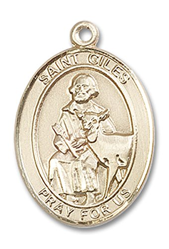 14 Karat Gold Saint Giles Medal Pendant, 1 Inch Giles Medal
