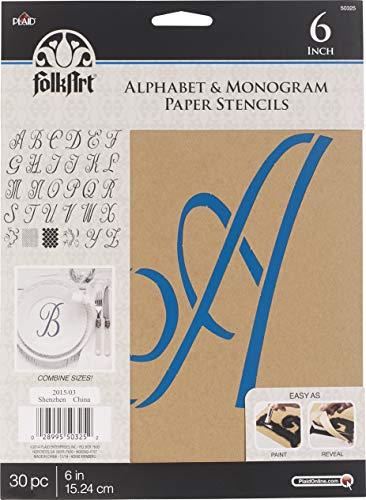 FolkArt 50325 Stencil Paper, Alphabet & Monogram Script 6