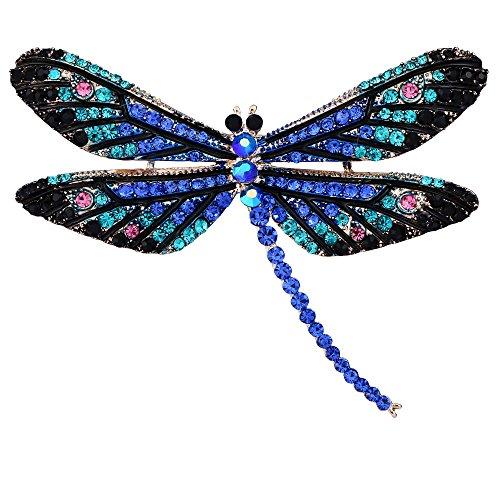 Enamel Dragonfly Pin - BriLove Women's Lovely Cute Crystal Dragonfly Enamel Brooch Pin Blue Gold-Tone