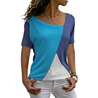 ZJCT Womens Tops Casual Tee Shirts Short Sleeve Patchwork Color Block Loose Fits Tunic Tops Blouses - - Large