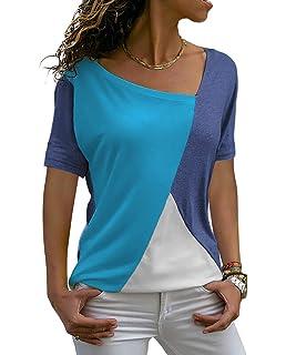 babyhealthy Womens Asymmetrical Neckline Color Block Short Sleeve Blouse Loose Patchwork Tee Shirt Tops