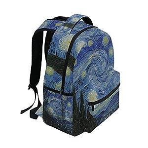 Ahomy Unisex School Backpack Van Gogh Starry Night Moon Elementary Bookbag Lightweight School Rucksack