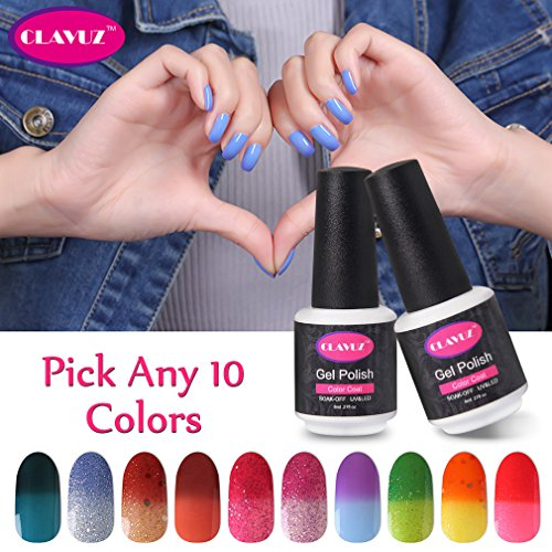 CLAVUZ Pick Any 10 Colors Soak Off Gel Nail Polish Set Thermal Temperature Color Changing Nail Varnish UV LED Salon Beauty Manicure Nail Lacquer Art Gift (How To Crackle Paint)