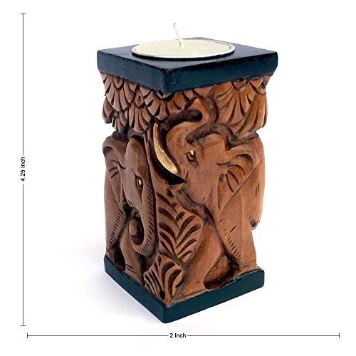 JAIPURCRAFT Elephant in Jungle Theme Square Tealight Holder, Elephant Hand Carved on Wood Comes with Two Way Antique Finish. 2.25