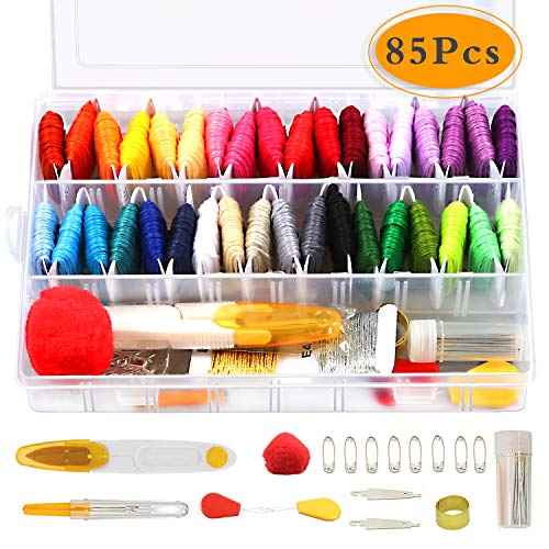 COTOPHER Embroidery Floss 85 Pcs Cross Stitch Kits,Embroidery Thread 38 Skeins Friendship Bracelets Floss with Organizer Storage Box Cross Stitch Threads Embroidery Kit 47 Pcs Cross Stitch Tools