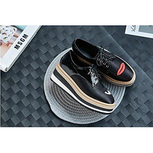 Loafers Broderie Ville Baskets A0920 Femme Creepers Black WSXY de Motif de KJJDE Chaussures Créatif Chaussures rrYRwqT