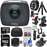 Vivitar DVR988HD 360 VR Wi-Fi Action Video Camera Camcorder (Black) with Remote + Action Mounts + Flex Tripod + 64GB Card + Case + Battery Hand Grip + Kit