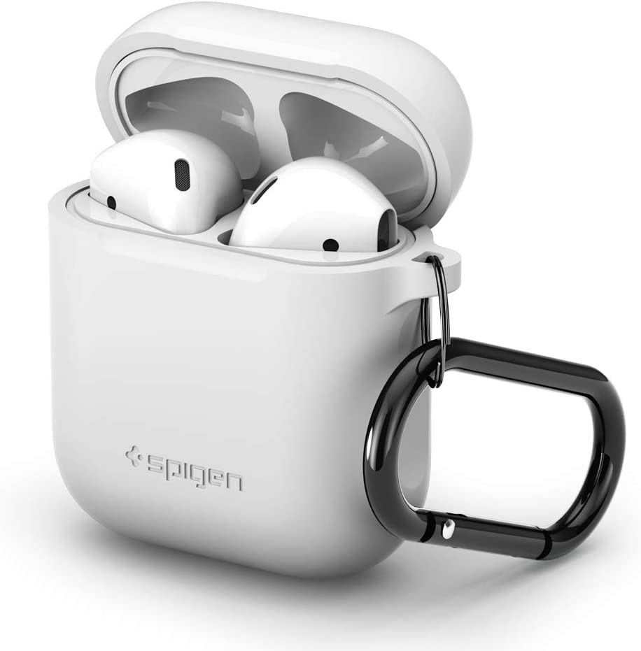 Spigen Silicone Fit Designed for Apple Airpods Case Cover for Airpods 1 & 2 [Front LED not Visible] - White