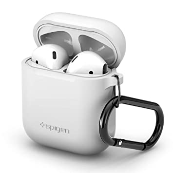newest 49981 c512e Spigen AirPods Case Cover, [White] Flexible Protective Premium Silicone  material, Protection from dust and scrathces, Shockproof construction for  ...