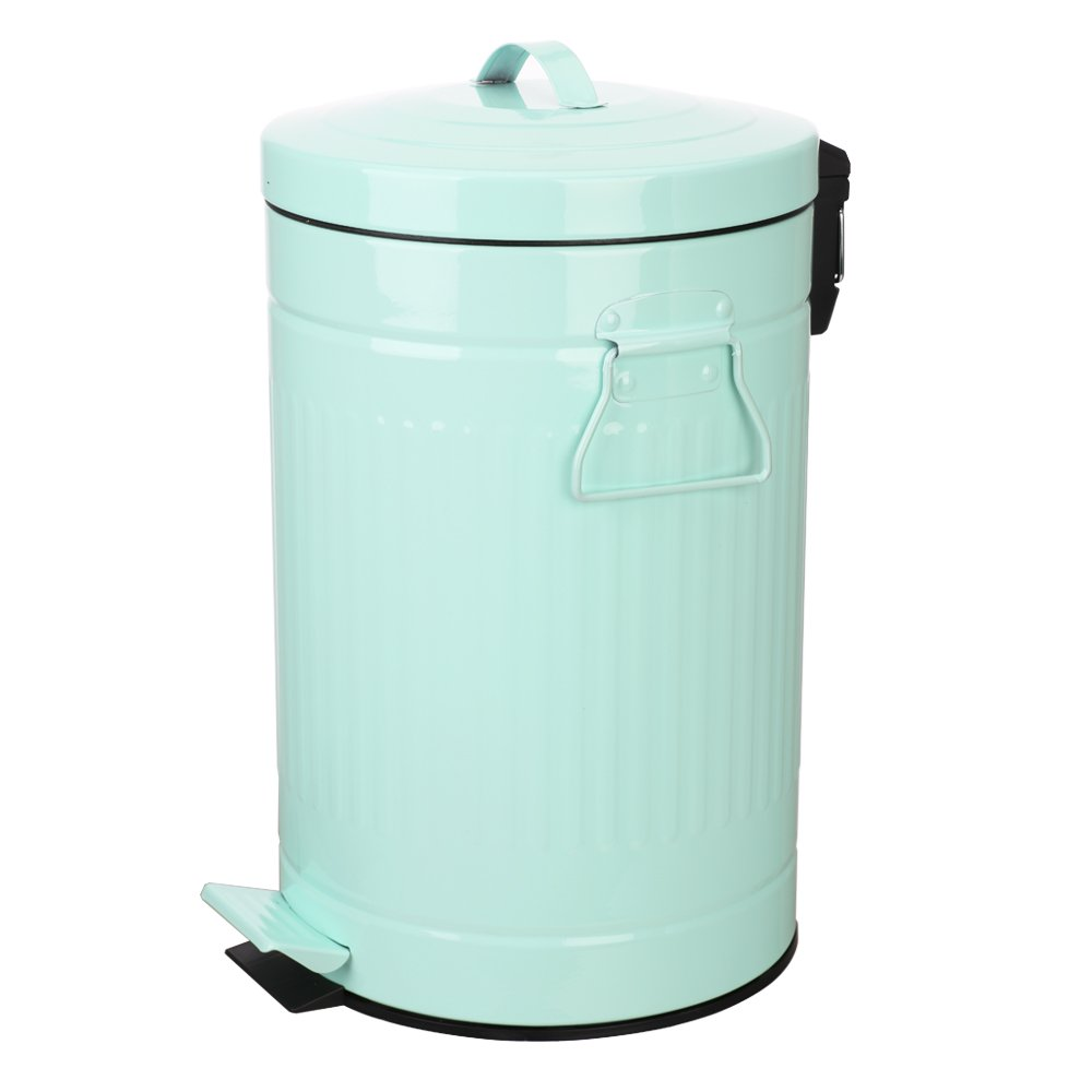 Mint Green Trash Can with Lid, Turquoise Bathroom and Bedroom Trash Can, Teal Bathroom Trash Can, Retro Vintage Office Trash Can, 12 Liter/3 Gallon, Glossy Mint Green