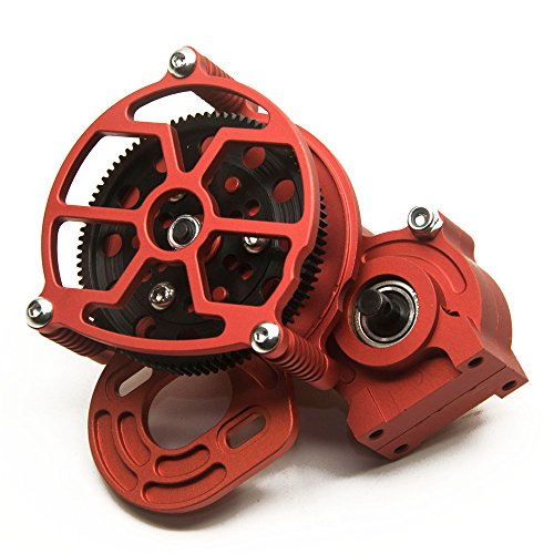 - MOHERO Aluminum Center Transmission Case/Gearbox with Straight Gear for 1/10 Axial SCX10 RC Model Crawler Car (Red)