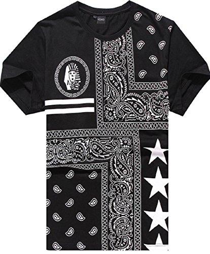 YOXO Men's Hip Hop Bandana Paisley Print Short Sleeve T shirts (M, Style 1)
