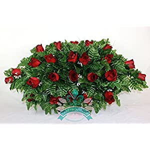 XL Classic Red Roses Cemetery Tombstone Saddle Arrangement 21