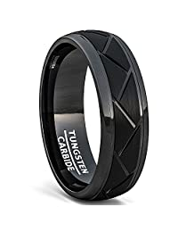 Duke Collections Tungsten Ring Brushed Zigzag Groove Wedding Bands 8mm Comfort Fit