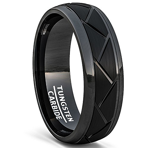 Black Tungsten Ring Brushed Zigzag Groove Wedding Bands 8mm Comfort Fit (13) (Qz Wedding Rings)