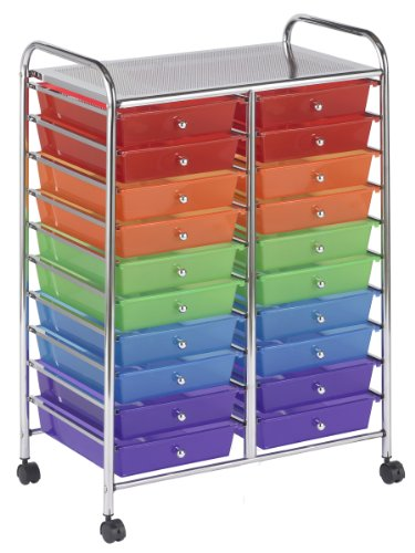- ECR4Kids 20 Drawer Mobile Organizer, Assorted Colors