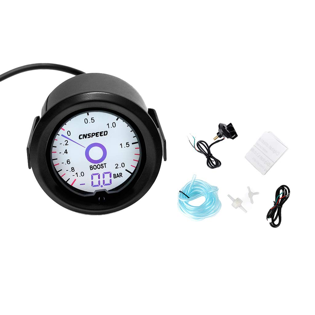 perfk 2inch 52mm Turbo Boost Vacuum Gauge Psi 12V Car LED Light Tint Lens LCD Screen Auto Digital Meter Instrument Universal