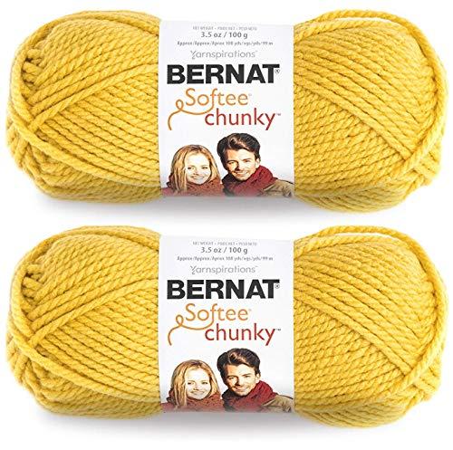 (2-Pack - Bernat Softee Chunky Yarn, Glowing Gold, Single Ball)