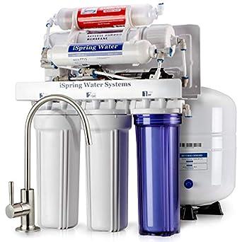 Sistema de filtrado de agua iSpring 75GPD de ósmosis inversa alcalino pH de 6 etapas con