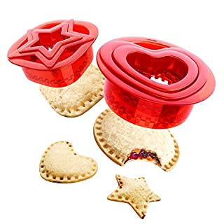 Yumkt Sandwich Cutters Set of 2 Square Heart Star Sandwich Cutters and Sealer for Kids Boys Girs,Red