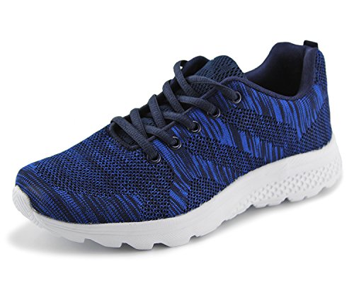 Jabasic Women's Breathable Knit Sports Running Shoes Casual Walking Sneaker (7 B(M) US, Navy-1)