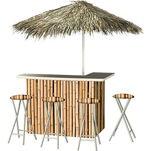 Best of Times Hawaiian Bamboo Deluxe Portable Bar Model# 4684- 4 Stools and Umbrella