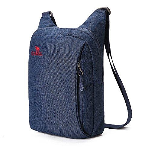 Unisex Camel - CAMEL CROWN Unisex Anti-Theft Crossbody Bag Lightweight Mens Shoulder Bag Women Outdoor Mini satchel(Dark Blue)