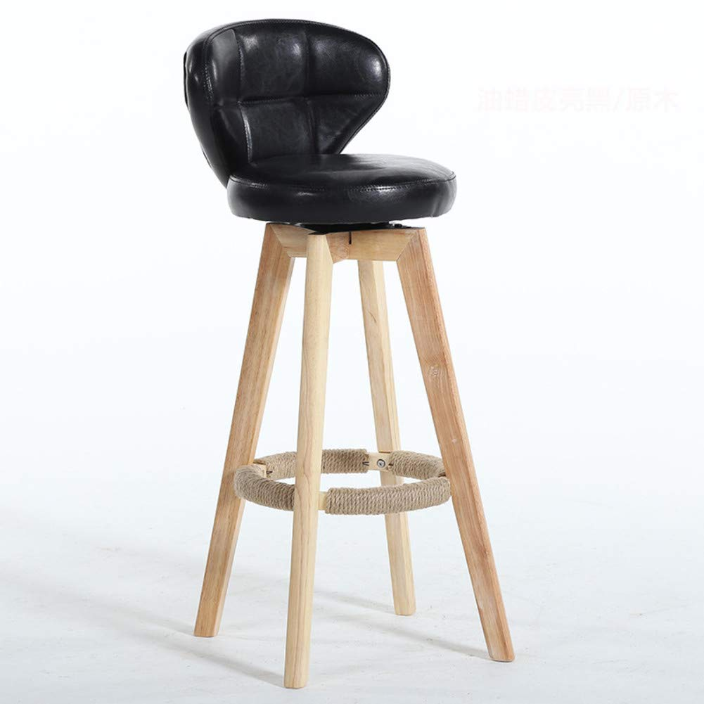 Black Modern Solid Wood Barstools, 360 Degree Swivel High Stool with Backs Pu Leather Filled Cotton Pub Chair Counter Bar Stool Chair for Office Bar Home-Black