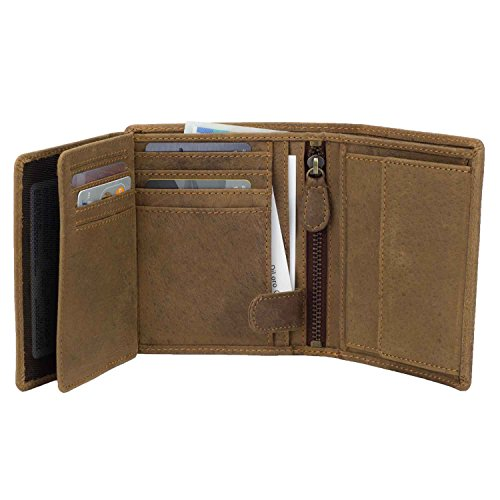 - Mens Wallets by DiLoro Italy Fullsize Bifold Double Flip ID Leather Wallet Vertical Slots Coin and YKK Zip Compartment RFID Protection Hunter Brown 1809-BR