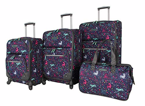 - Lily Bloom Luggage Set 4 Piece Suitcase Collection With Spinner Wheels For Woman (Uni-Corny)