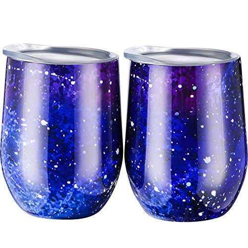 Skylety 12 oz Double-insulated Stemless Glass, Stainless Steel Tumbler Cup with Lids for Wine, Coffee, Drinks, Champagne, Cocktails, 2 Pieces (Night Sky Blue) (A Can Champagne In)