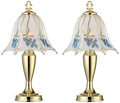 Esmont Blue Flower Shade Touch Table Lamp Set of 2
