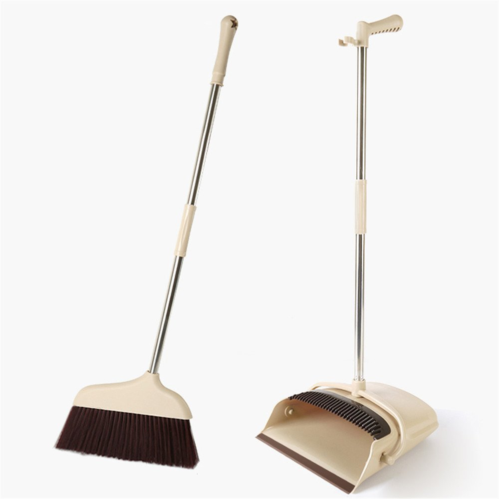 Muswanna Telescoping Handle Wind Proof Dustpan and Lobby Broom Combo Standing Upright Grips Sweep Set with Broom for Home Office Commercial Hardwood Floor Use Out Door Garden Lobby
