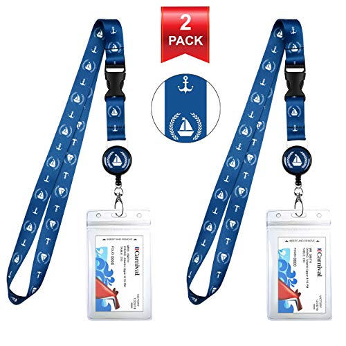 Navy Blue Anchor Ship Cruise Lanyard & Waterproof ID Key Card Holder Clip. Matching Retractable Badge Reel. Bonus Travel Organizer Bag. Essential Cruise Ship Accessories. 2-Pack. (Best Cruise Line Credit Card)