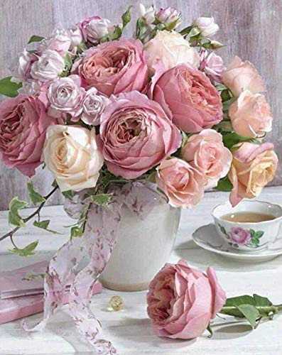 Kingshalor 5D Diamond Painting Full Drill Pink Rose Flowers in Vase Rhinestone Embroidery Dotz Kits Diamond Cross Stitch Pattern Picture Arts Craft Supply Home Wall Decor, ()