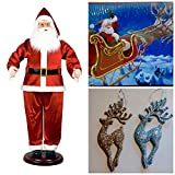 Huge 6' Life Size Animated Dancing Santa Bundle Includes Bonus Christmas Cards and Reindeer Ornaments