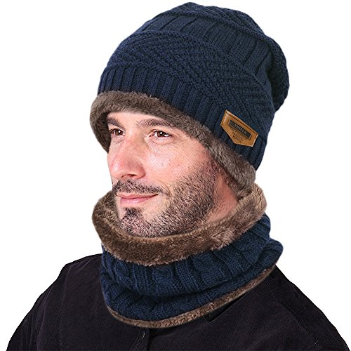 Hat Scarf Set Warm Knit Hat Thick Knit Skull Cap For Men Women (Navy Blue) (Blue Knit Beanie Cap Hat)