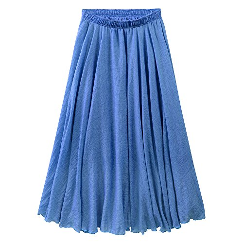 Women's Bohemian Style Elastic Waist Band Cotton Linen Long Maxi Skirt Summer Dress (95 CM, Demin Blue)