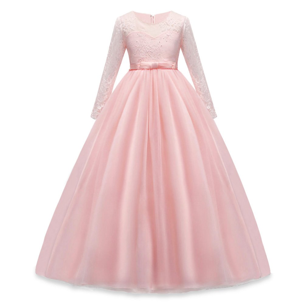 HUANQIUE Girls Lace Pageant Party Dress Wedding Flower Girl Maxi ...
