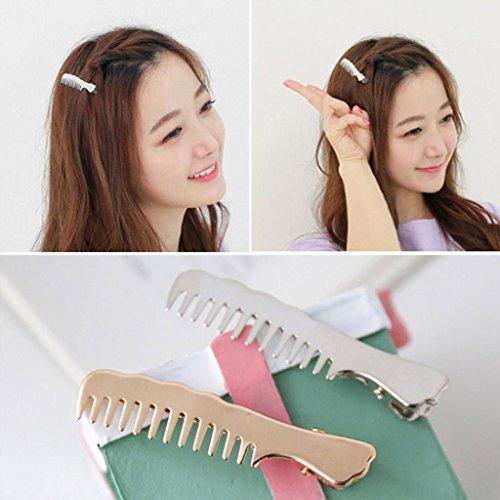 Staron 1Pair Women Hair Pins Clips Cute Comb Shape Headwear Accessories Headpiece (Gold) by Staron (Image #3)
