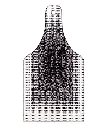 (Lunarable Modern Art Cutting Board, Digital Futuristic Pixel Tech-Art with Dots Spots Artificial Abstract Pattern, Decorative Tempered Glass Cutting and Serving Board, Wine Bottle Shape, Grey Black)